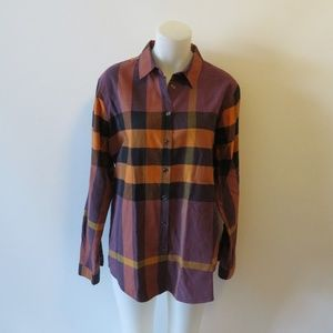 BURBERRY BRIT BROWN/MULTI PLAID SHIRT SZ XL*